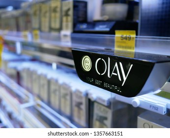 NONTHABURI,THAILAND-2 APRIL 2019:Olay brand products on shelf for sale on the Big C supercenter.