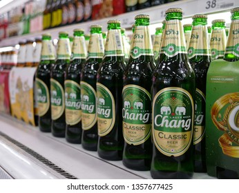 NONTHABURI,THAILAND-2 APRIL 2019:Shelf of beverage beer for sale on the Big C supercenter department store.