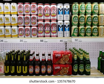 NONTHABURI,THAILAND-2 APRIL 2019:Shelf of beverage beer cans and bottles for sale on the Big C supercenter department store.