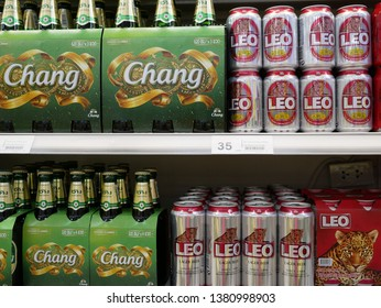 NONTHABURI,THAILAND-24 FEBRUARY 2019:Shelf of beverage beer for sale on the supermarket.