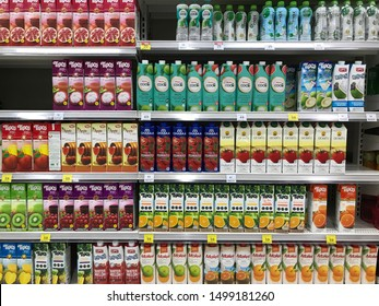 NONTHABURI,THAILAND-8 SEPTEMBER 2019:Various of juice on shelf for sale in the supermarket.