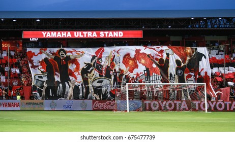 NONTHABURI,THAILAND-JULY 9 : The fan club of SCG Muangthong United in action during the game between SCG Muangthong United and Buriram United at SCG Stadium on July 9, 2017 in,Thailand.