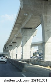 NONTHABURI-THAILAND-NOVEMBER 10  : Concrete overpass structure on highway November 10, 2014 Nonthaburi Province, Thailand.