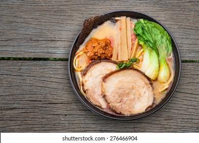 Noodle bowl on wooden background