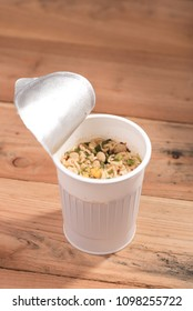 Noodle Cup,noodle soup in a cup,on wooden background