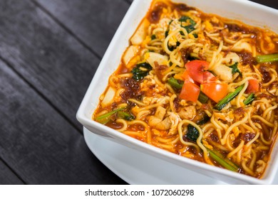 Noodle Mie kuah, Mie rebus, Mie Instan Pedas, Spicy noodles with curry soup