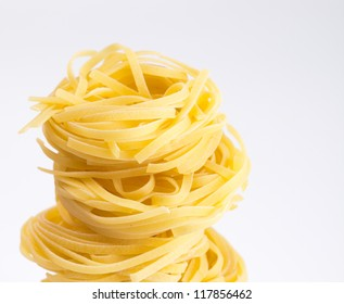 noodle in shape of nest. selective focus