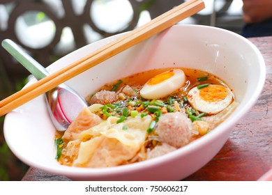 noodle soup with  eggs put on the table,Close up