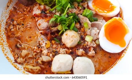 Noodle soup with pork, Chicken legs , Noodle Thai style
