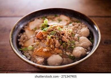 Noodle , Thai Noodle and meat balls.