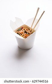 Noodle wok in white box on isolated background