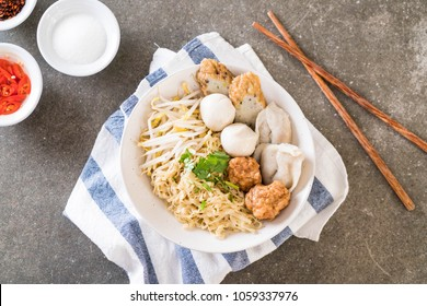 noodles bowl with fish ball - Asian food style
