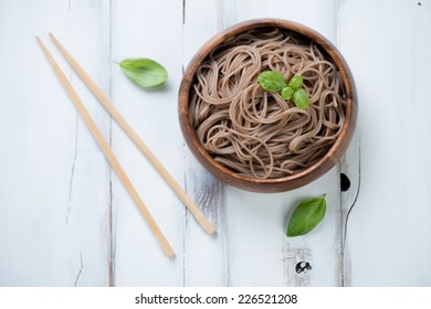 Noodles from buckwheat flour, traditional asian cuisine