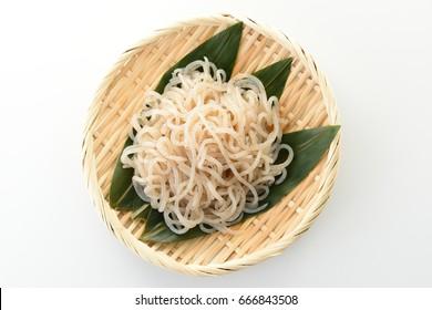 Noodles made from konnyaku. Japanese food.