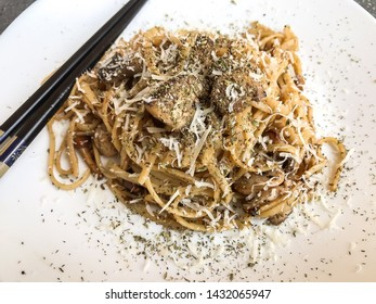 noodles with mushroom and parmesan and soy