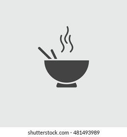 Noodles plate, sign flat illustration icon.