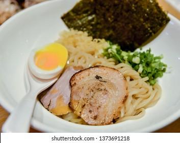 Noodles with pork and egg  yolk, Japanese noodles