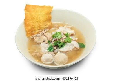 Noodles with pork and meat ball with soup (Thai style) isolated on white background