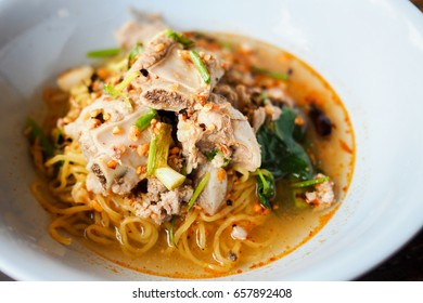 Noodles with Pork Rib in Thai Spicy Soup