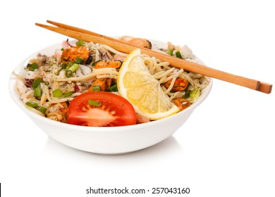 Noodles with seafood on white background