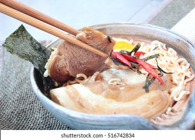 Noodles soup korean food