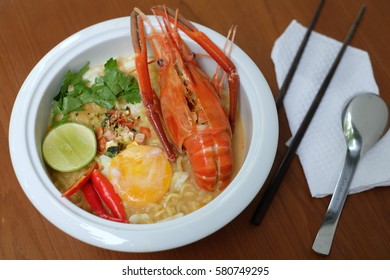 Noodles spicy Tom Yum Kung food Sea shrimp in a large bowl food ideas