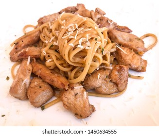 Noodles with teriyaki chicken and parmesan