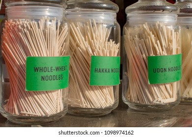 Noodles of three types in jars