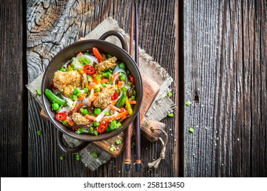 Noodles with vegetables and chicken with sesame