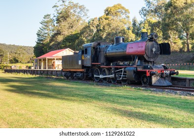Noojee, Australia - October 18, 2015: former Noojee Railway Station in Gippsland. The Noojee railway line closed in the 1950s.