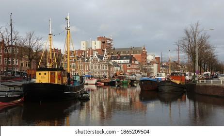 Noorderhaven in Groningen in autumn sunlight - Shutterstock ID 1865209504