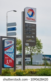 Noord-Scharwoude, Netherlands - May 12, 2018: Total sign (Nord-Scharwoude) identifying a gas station. Total is a French multinational oil company and one of the supermajor oil companies in the world.