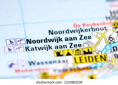 Noordwijk aan Zee. Netherlands on a map