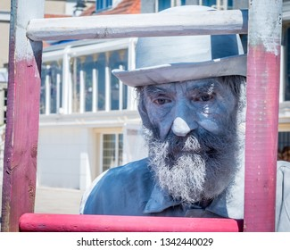 NOORDWIJK AAN ZEE-AUGUST 5, 2018. At the Beach Boulevard of Noordwijk, the Living Statue festival was held. Several street artists performed various characters for the public to enjoy.