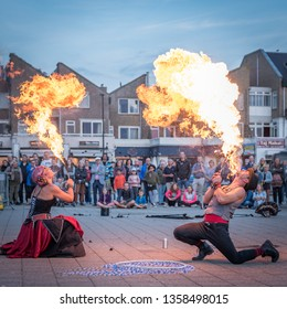 NOORDWIJK AAN ZEE-AUGUSTUS 19, 2018. At the Beach Boulevard of Noordwijk, the festival of Cirque des Dunes was held. Among other acts, there were performers who breathed balls of fire.