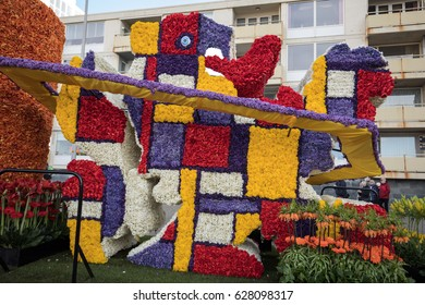 NOORDWIJK, NETHERLANDS - 22 APRIL 2017: Platform with  tulips and hyacinths follows the route of the traditional flowers parade Bloemencorso from Noordwijk to Haarlem in the Netherlands.