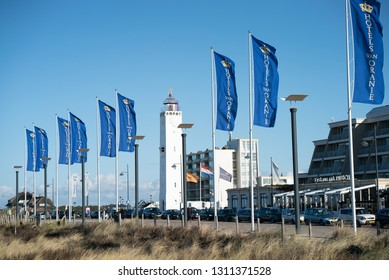 Noordwijk, The Netherlands - FEBRUARY 2019: Boulevard of Noordwijk aan Zee, Holland