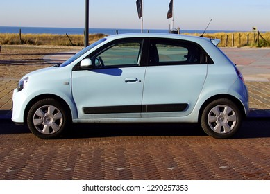 Noordwijk, the Netherlands - Januari 20, 2019: White Renault Twingo parked by the side of the road. Nobody in the vehicle.