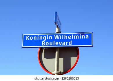 Noordwijk, the Netherlands - Januari 20, 2019: Street name sign Koningin Wilhelmina Boulevard - Noordwijk, the Netherlands