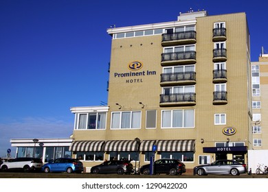 Noordwijk, the Netherlands - Januari 20, 2019: Hotel Prominent Inn Hotel against a clear blue sky.
