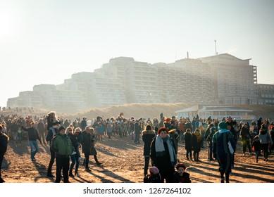 Noordwijk, The Netherlands - NOVEMBER 2018: Crowd waiting for Sinterklaas to arrive