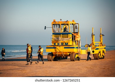 Noordwijk, The Netherlands - NOVEMBER 2018: Lifeguards at work on the beach of Noordwijk