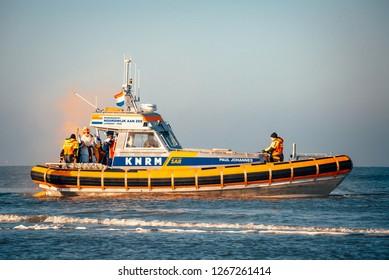 Noordwijk, The Netherlands - NOVEMBER 2018: Sinterklaas coming to town with a lifeboat in Noordwijk