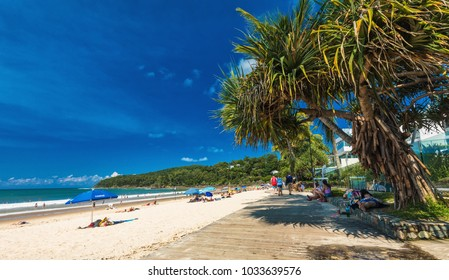 NOOSA, AUSTRALIA, FEB 17 2018: People enjoying summer at Noosa main beach - a famous tourist destination in Queensland, Australia.
