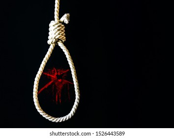 Noose with broken glass on black background. Suicide concept. Hanging because of work stress. Depression of burnout. Terrible life situation.