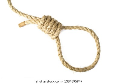 Noose tied in natural sisal rope, high key isolated on white background. Close up detail of Hang Mans knot.