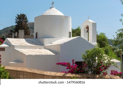 Nopigia, Crete, Greece. June 2019.  The church of St Panteleimonos at Nopigia in the Kissamos region of western Crete.