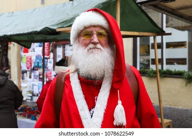 NORA, SWEDEN - DECEMBER 9, 2017: Man dressed like Santa Claus during the old market day in Nora, Sweden
