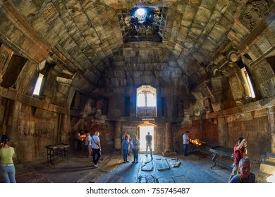 NORAVANK MONASTERY, ARMENIA - 02 AUGUST 2017: Inside interior of Famous Noravank Monastery Landmark in Syunik province of Armenia