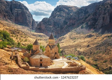 Noravank monastery complex built on ledge of narrow gorge. Armenia